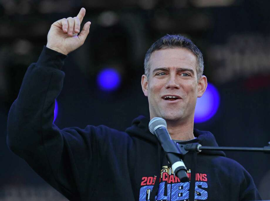 Team president Theo Epstein of the Chicago Cubs speaks to the crowd during the team's World Series victory celebration in Grant Park on Nov. 4, 2016. Photo: Jonathan Daniel /Getty Images / 2016 Getty Images