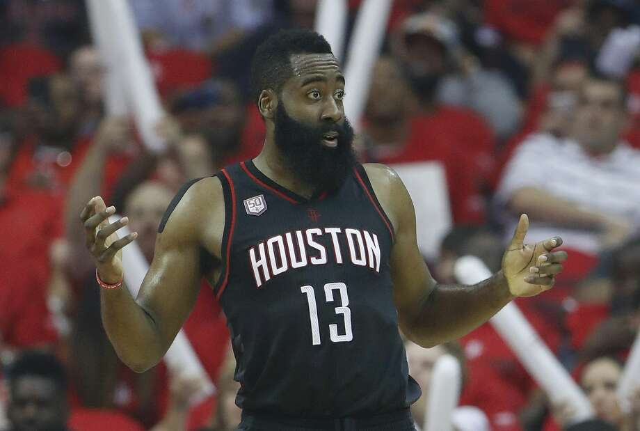 Houston Rockets guard James Harden (13) reacts during the first half of Game 1 of an NBA basketball first-round, Western Conference playoffs at the Toyota Center, Sunday April 16, 2017, in Houston. ( Karen Warren / Houston Chronicle ) Photo: Karen Warren/Houston Chronicle