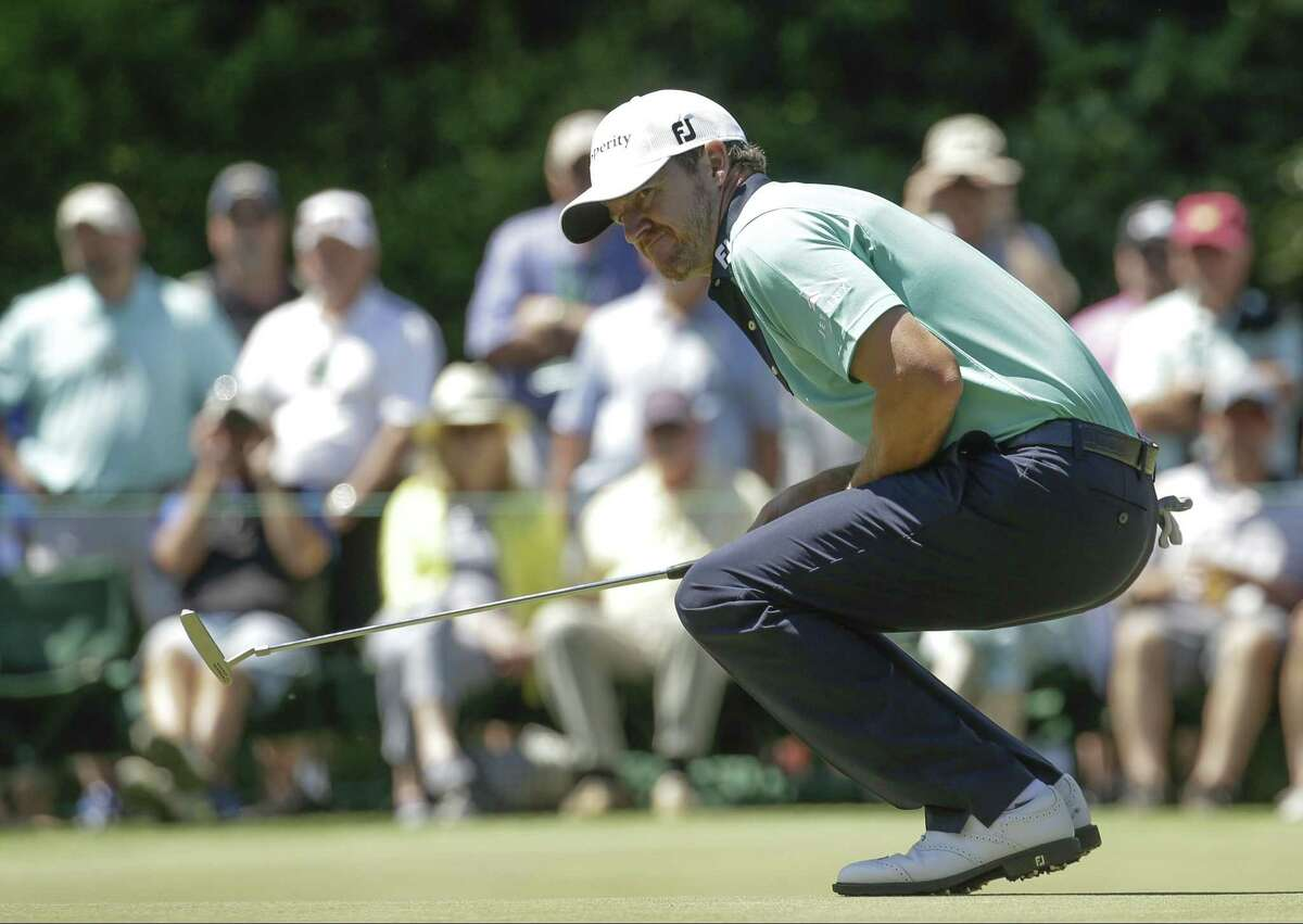 Jimmy Walker reacts to his missed birdie putt on the sixth hole during the final round of the Masters on April 9, 2017, in Augusta, Ga.
