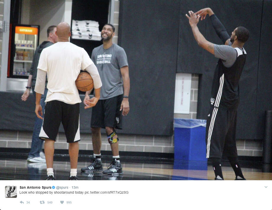 "The Spurs posted a photo of Tim Duncan on the court with LaMarcus Aldridge Monday morning, April 17, 2017, ahead of the Game 2 clash against the Memphis Grizzlies. ""Look who stopped by shootaround today."" Photo: Twitter/@Spurs"