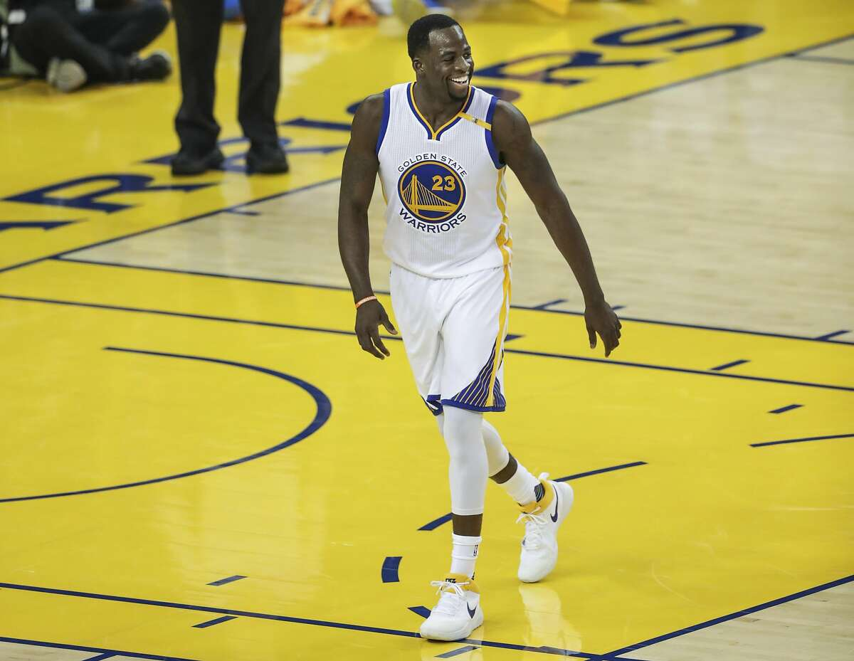 Golden State Warriors' Draymond Green smiles in the first quarter during Game 1 of the First Round of the Western Conference 2017 NBA Playoffs at Oracle Arena on Sunday, April 16, 2017 in Oakland, Calif.