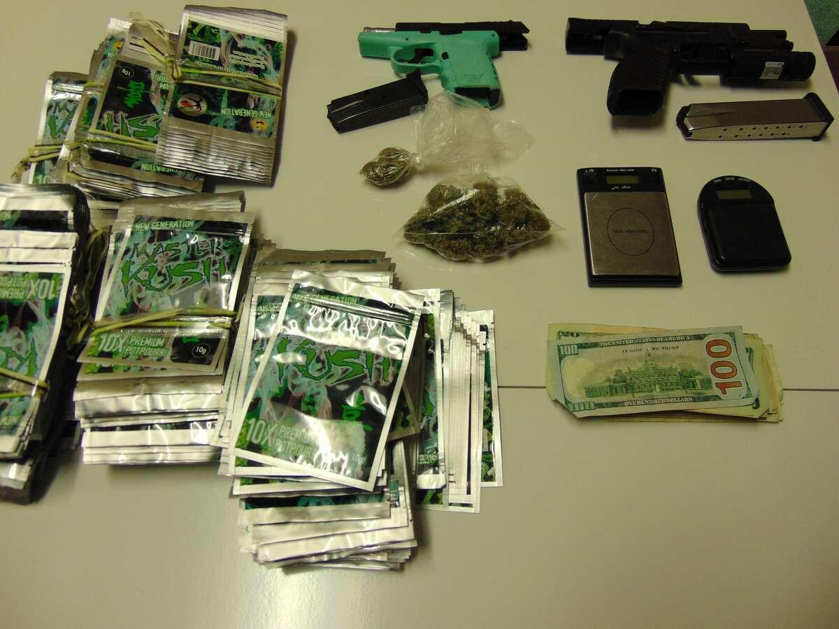 Pinehurst police say these items were inside the vehicle driven byDreshun Tyre Joseph, 23, on Easter Sunday. Photo: Pinehurst Police Department