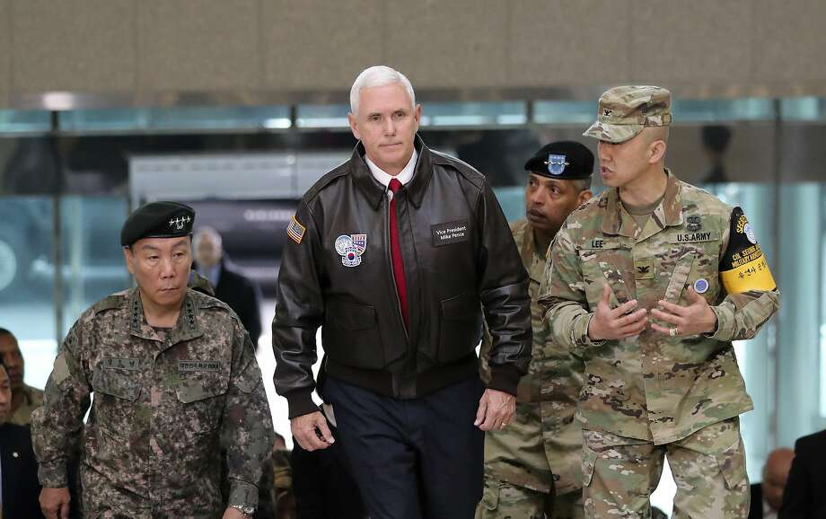 Vice President Mike Pence arrives at the village of Panmunjom in the Demilitarized Zone, which has separated the two Koreas since the Korean War. His visit is part of a tour of Asia. Photo: Lee Jin-man, Associated Press
