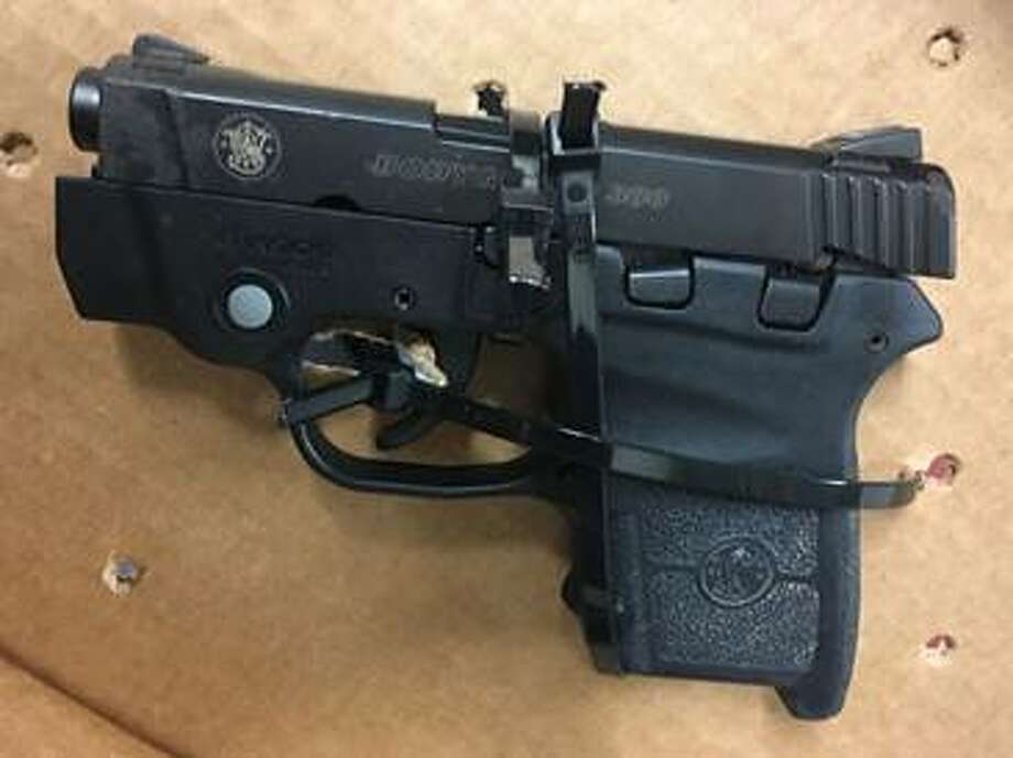 The Transportation Security Administration said they found this .380-caliber handgun in the carry-on bag of a Southwest co-pilot who was going through the security checkpoint at Albany International Airport. Photo: Transportation Security Administration