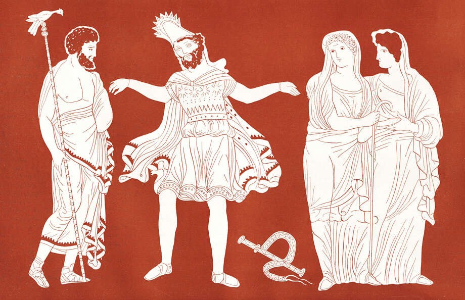 Oedipus - portrait of the King of Thebes (centre) with Tiresias (left) and a young Theban girls. / 2013 Culture Club