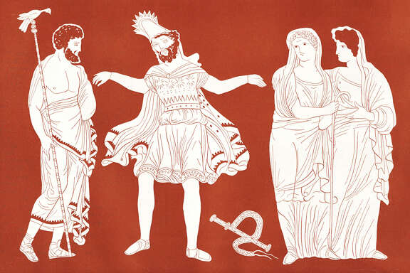 Oedipus - portrait of the King of Thebes (centre) with Tiresias (left) and a young Theban girls.