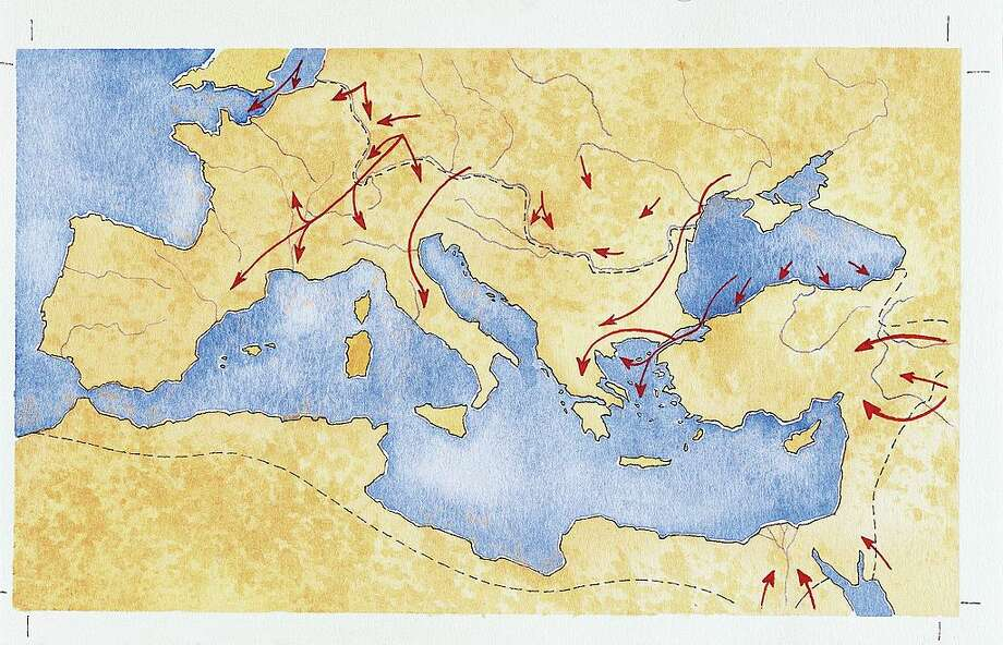 UNSPECIFIED - CIRCA 1900: Ancient Rome. Map of Mediterranean Basin illustrates barbarian migrations. Color illustration.
