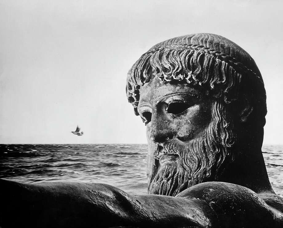 Bronze statue of Poseidon, Greek god of the sea.