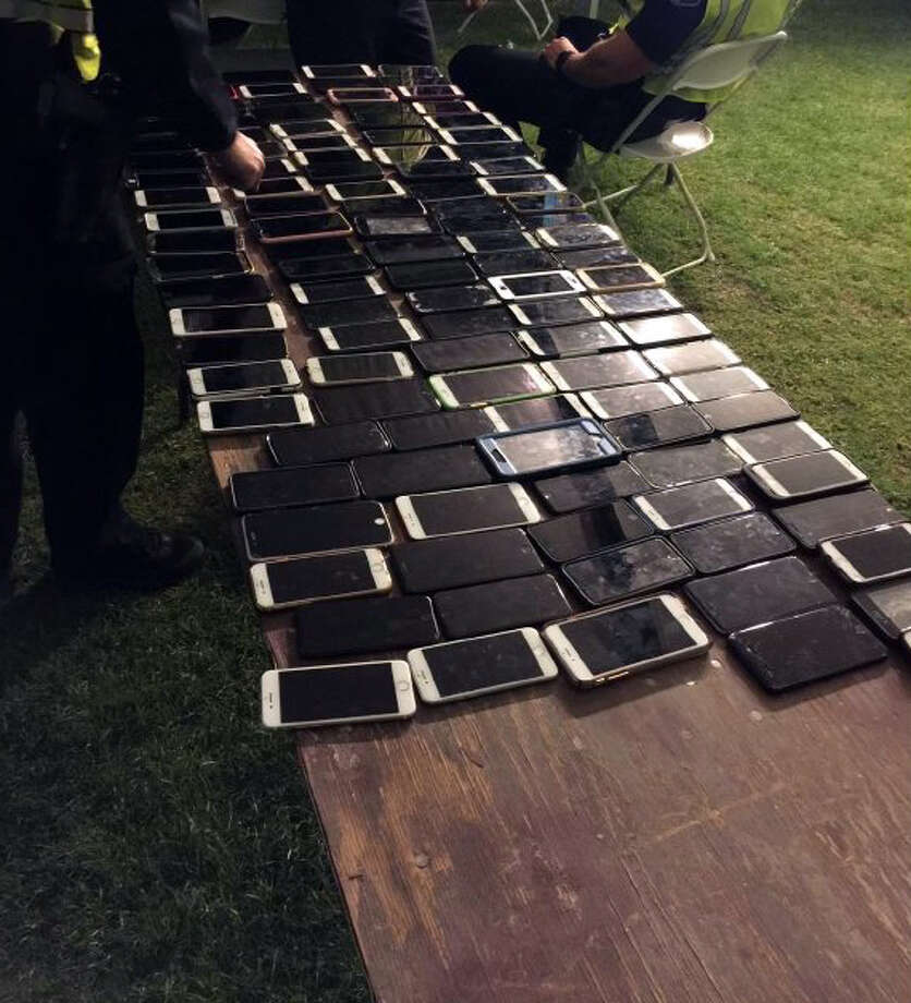 The Indio Police Department released this photo of stolen phones recovered at the Coachella Valley Music and Arts Festival. Photo: Indio Police Department