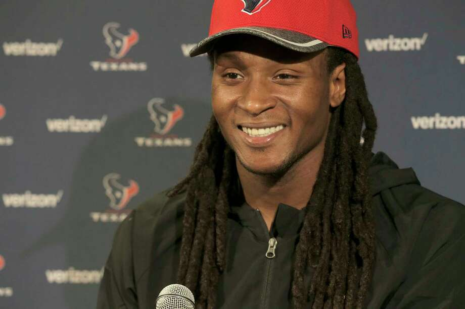 Texans receiver DeAndre Hopkins talks to the media at NRG Stadium on Monday, April 17, 2017, in Houston. Photo: Elizabeth Conley, Houston Chronicle / © 2017 Houston Chronicle