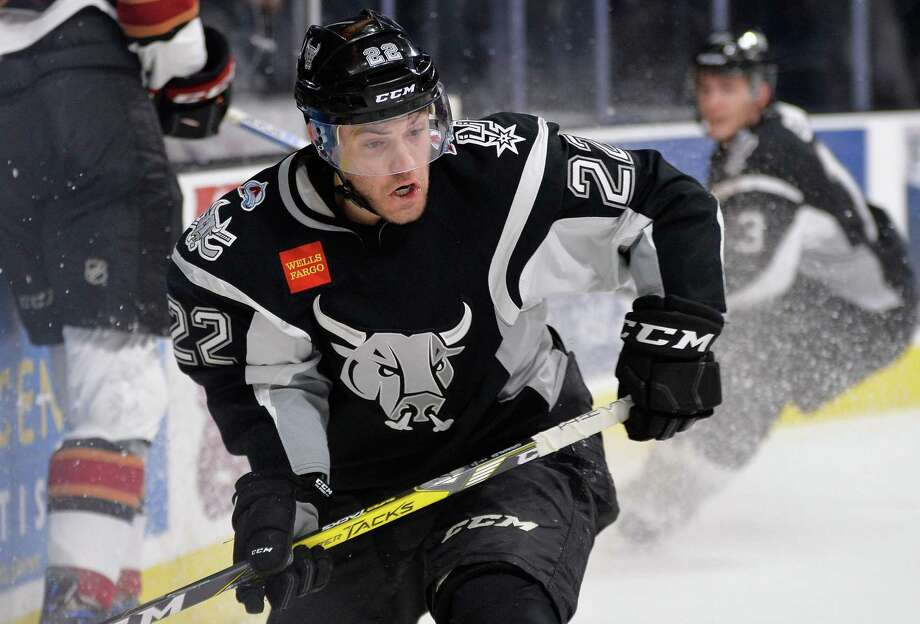 Rampage center Rocco Grimaldi chases the puck during the second period of an AHL hockey game against the Tucson Roadrunners on March 21, 2017, in San Antonio. Photo: Darren Abate /AHL / Darren Abate Media, LLC