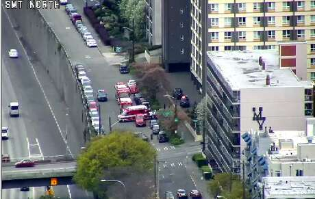 One man was critically wounded in a Capitol Hill shooting Monday morning in the 100 block of Melrose Avenue East. Traffic was blocked north of Denny Way. Photo: SDOT