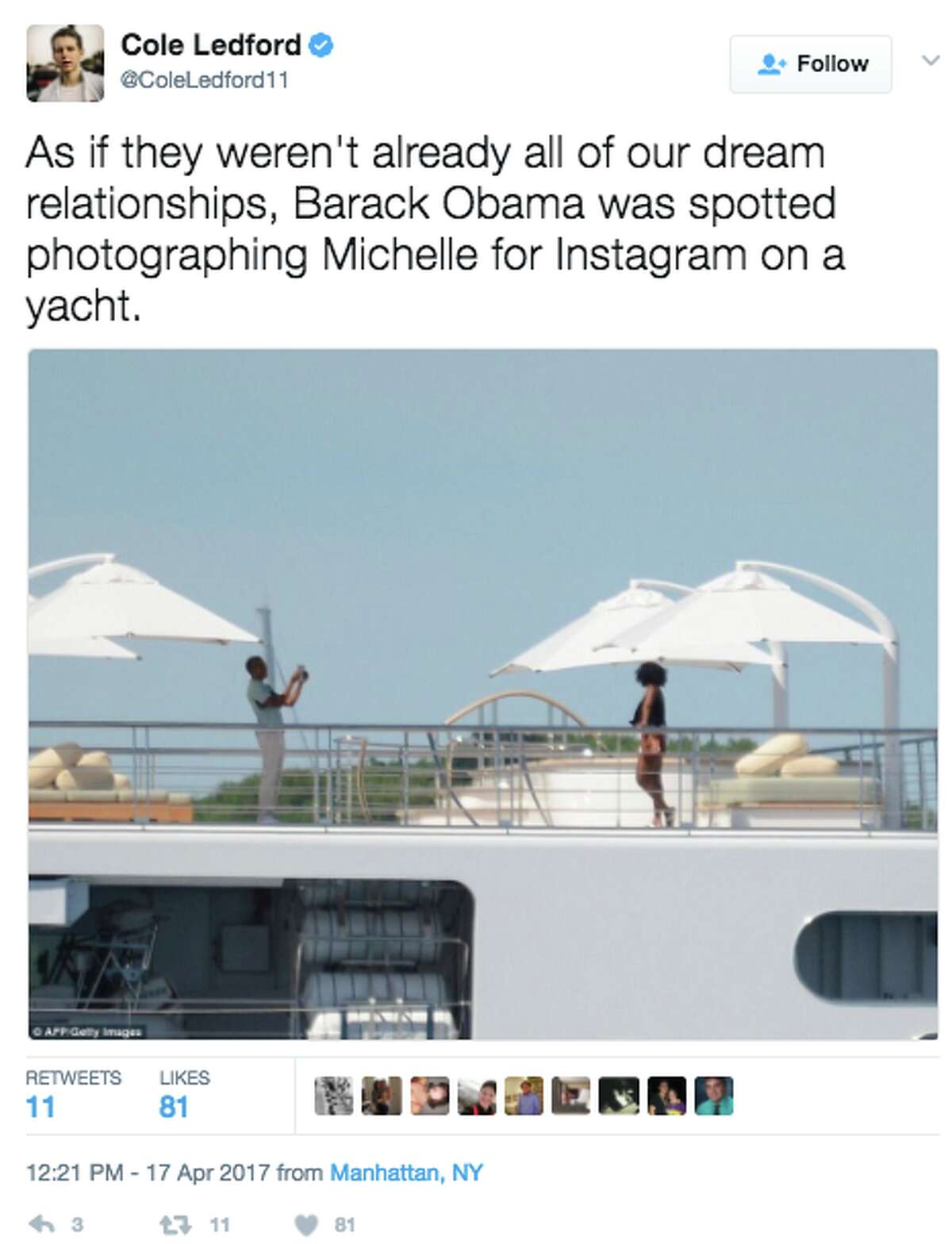 The Internet is going wild for a vacation photo of the Obamas onboard a yacht.