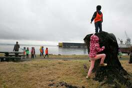 Students from AltSchool visit Aqua Vista Park during a cloudy day on Monday, April 17, 2017, in San Francisco, Calif.