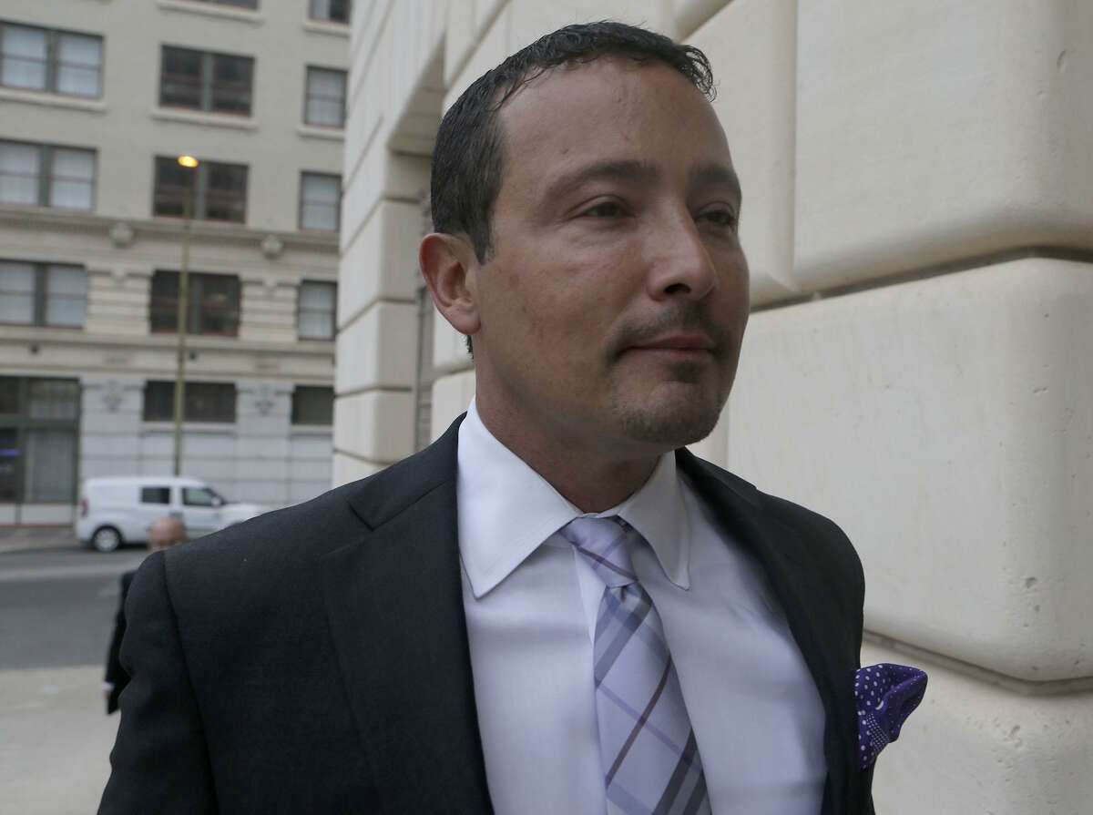 A bankruptcy judge on Thursday issued a bench warrant for the arrest of San Antonio oil and gas businessman Brian Alfaro. The judge had previously found Alfaro in contempt of court for failing to turn over various financial records and documents to a court-appointed receiver. Alfaro is shown heading to a U.S. Bankruptcy Court proceeding in 2017.