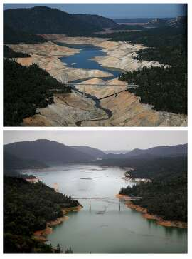 In this composite image a comparison has been made between a view of California during severe drought in 2014 (top) and during the week that the majority of the state's drought emergency is due to be lifted (bottom).   **TOP IMAGE** OROVILLE, CA - AUGUST 19, 2014: The Enterprise Bridge passes over a section of Lake Oroville that is nearly dry on August 19, 2014 in Oroville, California. As the severe drought in California continues for a third straight year, water levels in the State's lakes and reservoirs is reaching historic lows. Lake Oroville is currently at 32 percent of its total 3,537,577 acre feet. (Photo by Justin Sullivan/Getty Images)   **BOTTOM IMAGE**  OROVILLE, CA - APRIL 11, 2017: The Enterprise Bridge passes over a section of Lake Oroville on April aa, 2017 in Oroville, California. After record rainfall and snow in the mountains, much of California's landscape has turned from brown to green and reservoirs across the state are near capacity. California Gov. Jerry Brown signed an executive order Friday to lift the State's drought emergency in all but four counties. The drought emergency had been in place since 2014. (Photo by Justin Sullivan/Getty Images)