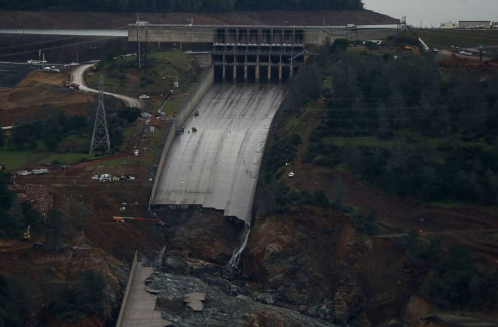 A closer view of of the heavily damaged spillway at Lake Oroville on April 11, 2017.