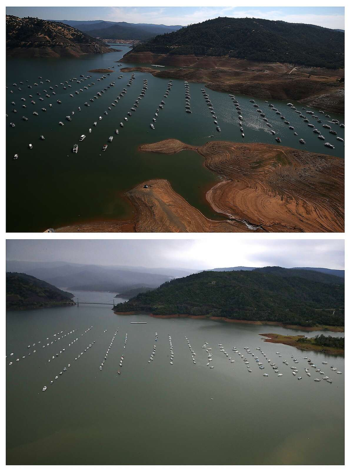 TOP: Bidwill Marina at Lake Oroville on August 19, 2014. BOTTOM: Bidwell Marina at Lake Oroville on April 11, 2017.