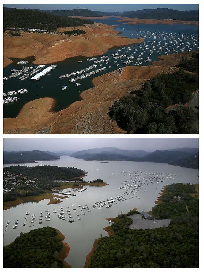 Getty photographer Justin Sullivan shot a series of photos showing how the rainy winter has affected Northern California lakes, reservoirs and the landscape. He tried to frame each shot as closely as possible to the one he took of the same subject two or three years earlier. Shown here is Bidwell Marina at Lake Oroville in Oroville, Calif., on August 19, 2014 (top) and on April 11, 2017.  Photo: Justin Sullivan, Justin Sullivan/Getty Images