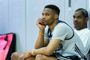 Oklahoma City Thunder guard Russell Westbrook sits on the sidelines following practice at the University of Houston on Monday, April 17, 2017, in Houston. The Thunder play the Houston Rockets in Game 2 of first round of the NBA Western Conference Playoffs on Wednesday at Toyota Center.