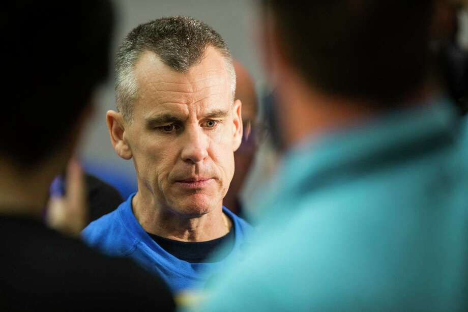 Oklahoma City Thunder head coach Billy Donovan speaks to the media following practice at the University of Houston on Monday, April 17, 2017, in Houston. The Thunder play the Houston Rockets in Game 2 of first round of the NBA Western Conference Playoffs on Wednesday at Toyota Center. Photo: Brett Coomer, Houston Chronicle / © 2017 Houston Chronicle