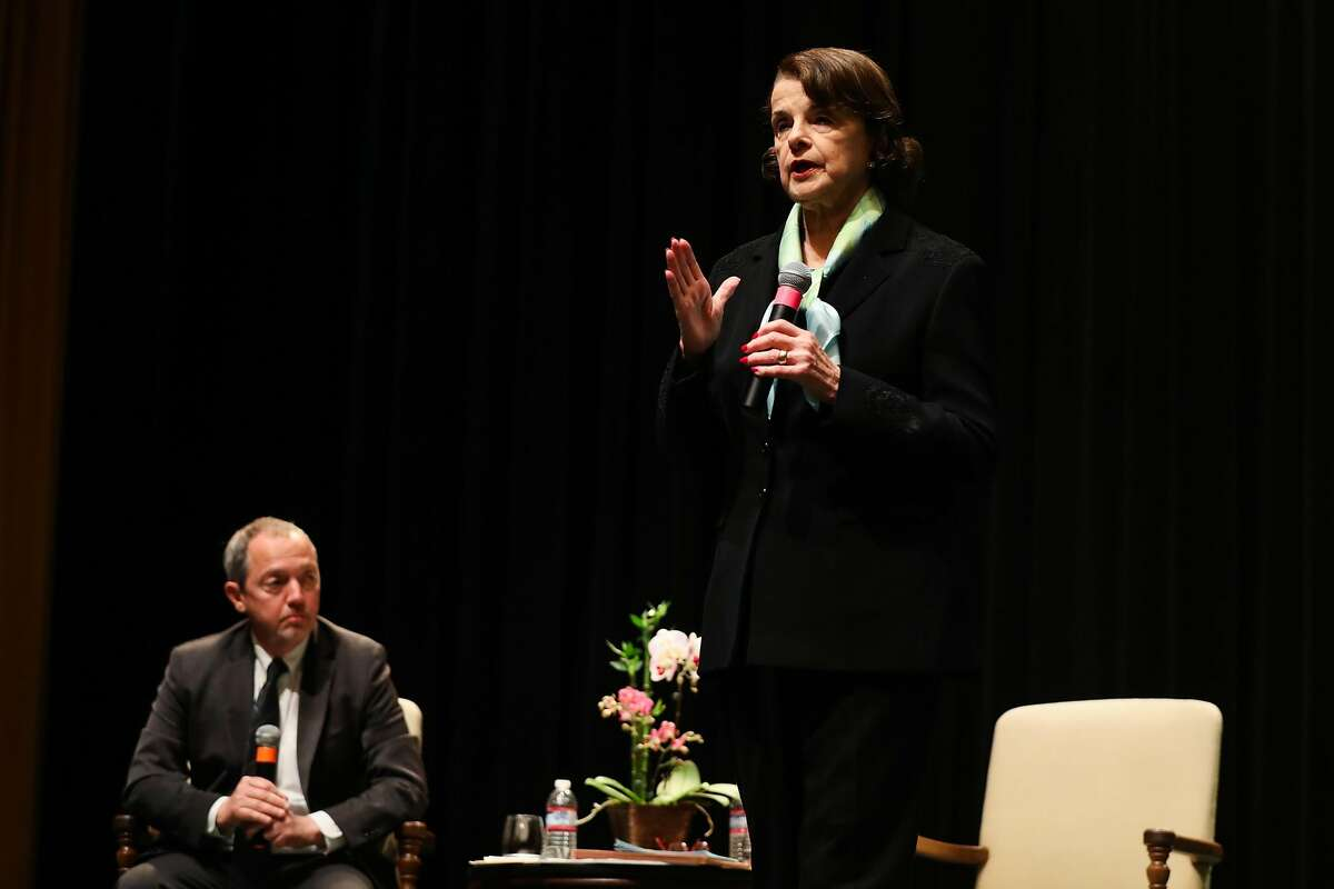 Senator Dianne Feinstein answers questions during a town hall meeting at the Scottish Rite Masonic Center San Francisco, California, on Monday, April 17, 2017.