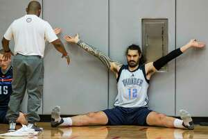 Oklahoma City Thunder center Steven Adams (12) stretches following practice at the University of Houston on Monday, April 17, 2017, in Houston. The Thunder play the Houston Rockets in Game 2 of first round of the NBA Western Conference Playoffs on Wednesday at Toyota Center.