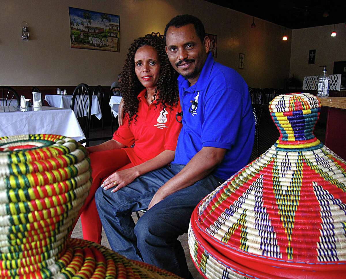 Azmera Asgedom, left, and her husband, Girmay Bahta, opened Rehoboth Eritrean-Ethiopian Cuisine on Babcock Road in April 2017. They also own Zara Grocery across the street.