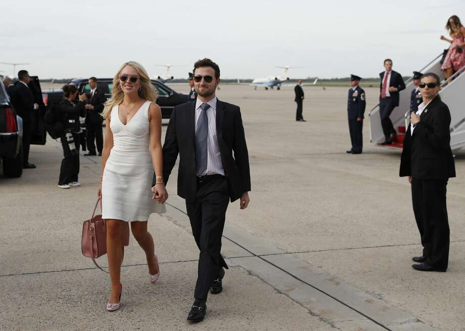 Tiffany Trump, left, and her boyfriend Ross Mechanic, step off Air Force One as they arrive Sunday, April 16, 2017, at Andrews Air Force Base, Md. President Donald Trump and family are returning from his Mar-a-Largo resort in Florida. (AP Photo/Alex Brandon) Photo: Alex Brandon/AP