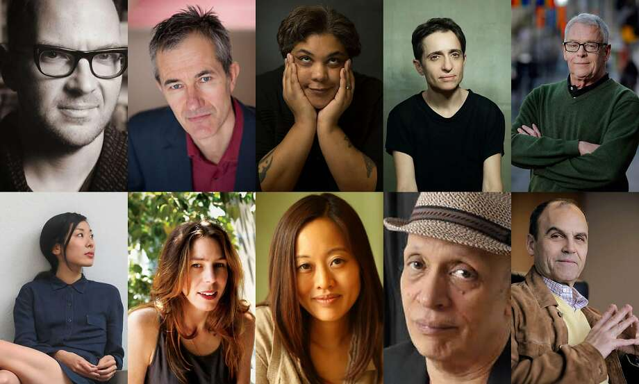Authors attending this year's Bay Area Book Festival include (top row, from left) Cory Doctorow, Geoff Dyer, Roxane Gay, Masha Gessen, Cleve Jones and (second row) Katie Kitamura, Rachel Kushner, Krys Lee, Walter Mosley and Scott Turow. Photo: Chronicle File Photos