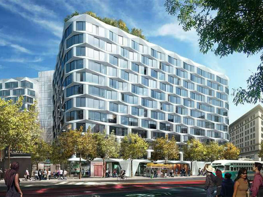 The proposed 12-story development on Market Street, between Fifth and Sixth. Photo: GROUP I/Hoodline