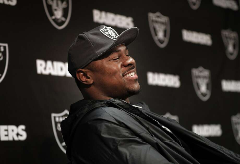 Khalil Mack laughs at a joke as several Oakland Raiders spoke to the press following their first off-season workouts at the Raiders facility in Alameda, Calif., on Monday, April 17, 2017. Photo: Carlos Avila Gonzalez, The Chronicle