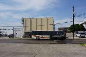 An El Metro Bus caught fire at about 3:45 p.m. Monday, April 17, 2017 on Washington Street near San Bernardo Avenue.