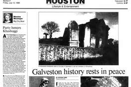 Houston Chronicle inside page - July 13, 1990 - section F, page 1. Hot spots. Houston attractions draw tourists, locals