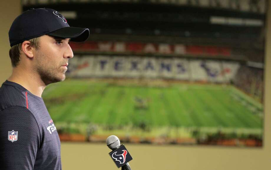 On the first day of the Texans' offseason program, Tom Savage found himself addressing the media as the team's No. 1 quarterback. Photo: Elizabeth Conley, Staff / © 2017 Houston Chronicle