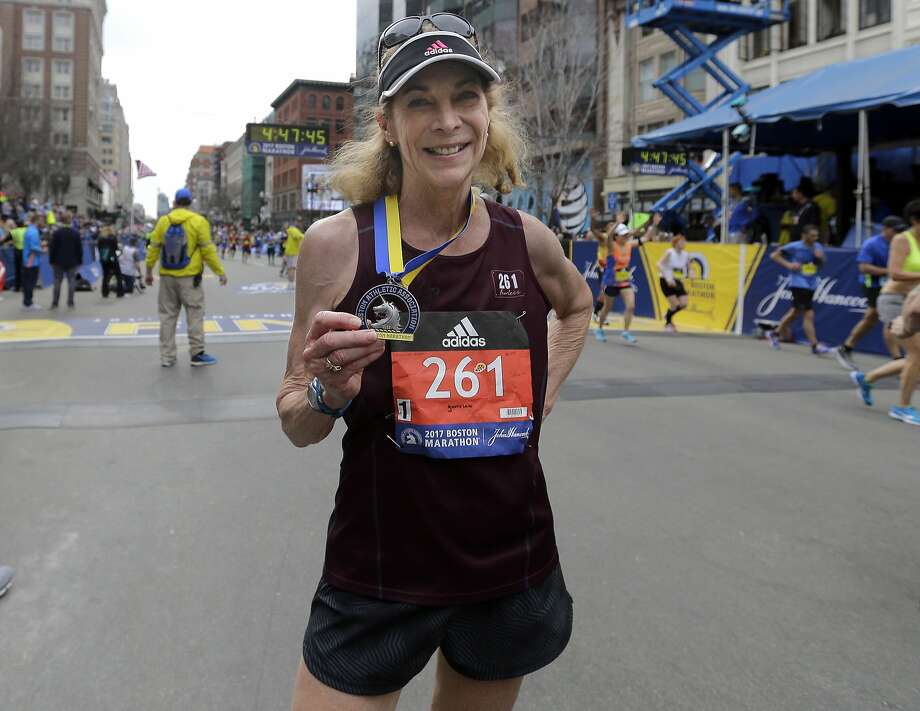 Kathrine Switzer, 70, the first official woman entrant in the race in 1967, ran it again. Photo: Elise Amendola, Associated Press