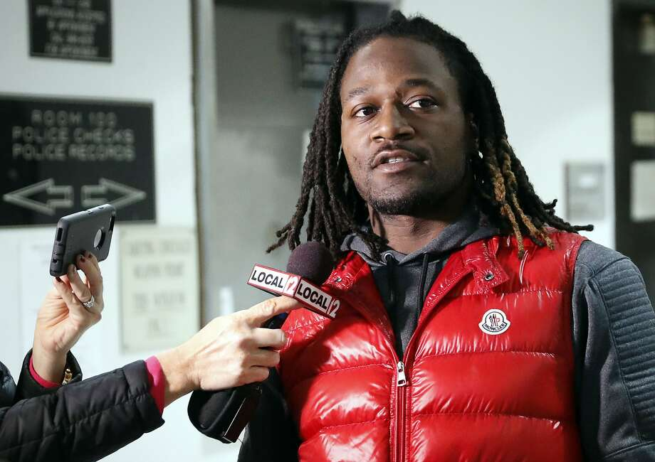 "FILE - In this Jan. 4, 2017, file photo, Cincinnati Bengals NFL football player Adam ""Pacman"" Jones speaks to reporters as he is released from the Hamilton County Justice Center in Cincinnati. Jones faces three misdemeanor charges, including assault, but no longer is charged with a felony for a January confrontation, Hamilton County Prosecutor Joe Deters  announced Wednesday, March 22, 2017.  The felony charge of harassment with a bodily substance was dismissed at the prosecuting attorney's request.  Deters says the misdemeanors also include disorderly conduct and obstructing official business. (AP Photo/John Minchillo, File) Photo: John Minchillo, Associated Press"