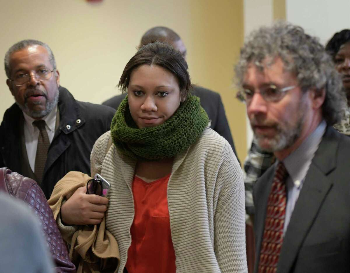 Ariel Agudio arrives at the Albany County Judicial Center Friday Nov. 17, 2016 in Albany, N.Y. surrounded by supporters for her hearing on the alleged attacks on a CDTA bus back in January (Skip Dickstein/Times Union)