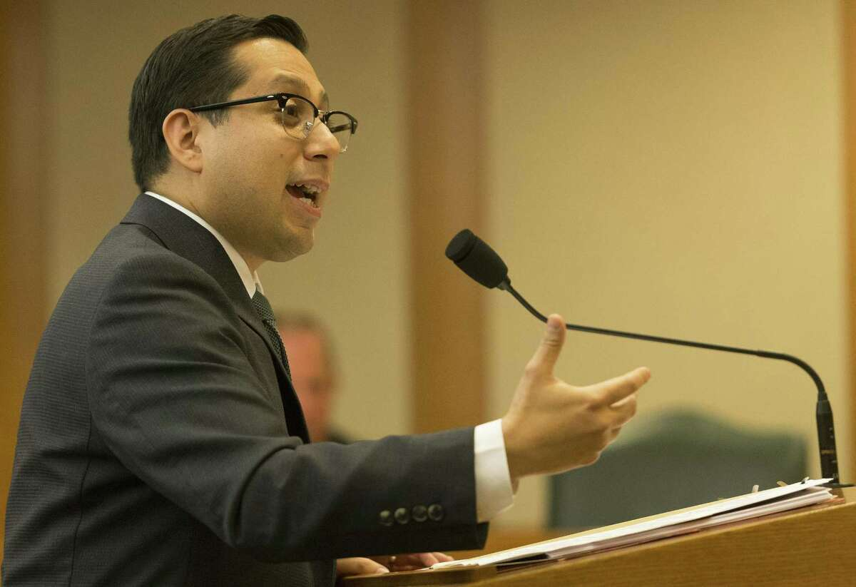 Rep. Diego Bernal, D-San Antonio, talks about the need for the bill, which remained in committee after Monday's hearing about it.