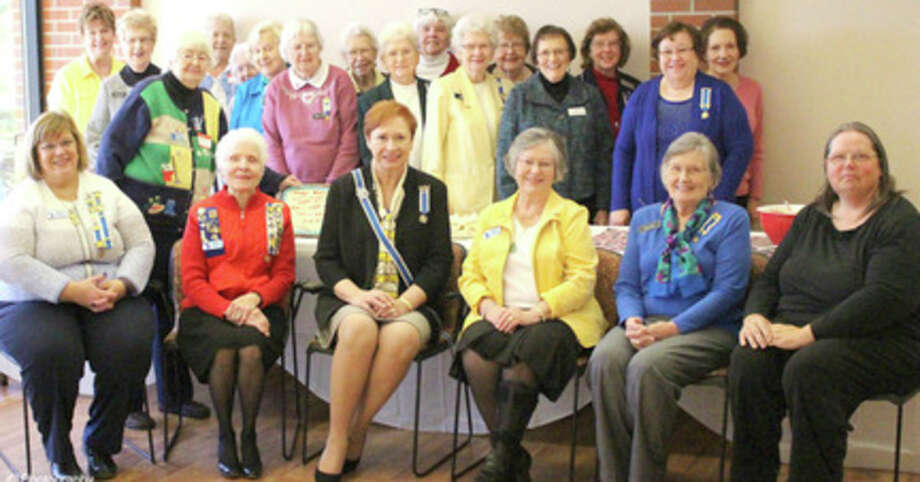 The John Alden Chapter of the Daughters of the American Revolution celebrated its 95th anniversary at its meeting April 7. The front row center is Michigan State Regent Diane Schrift and to her right, Chapter Regent Carolyn Graham, along with chapter officers.