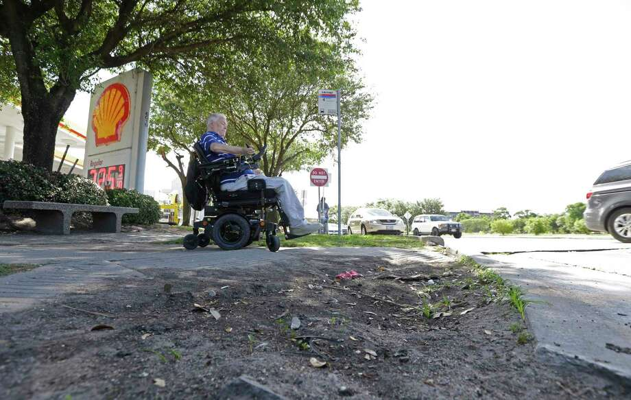 A deteriorating ramp at MacGregor and Almeda can be a major access problem for Lex Frieden. (Melissa Phillip/Houston Chronicle via AP) Photo: Melissa Phillip, MBO / © 2017 Houston Chronicle