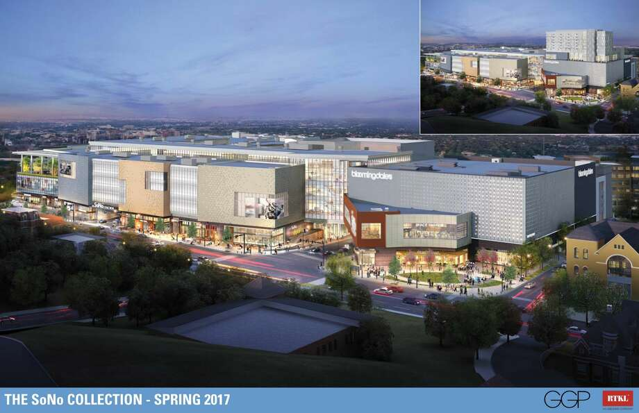 Revised renderings of The SoNo Collection, showing mall with hotel (upper right) and removed (main image below). Photo: General Growth Properties