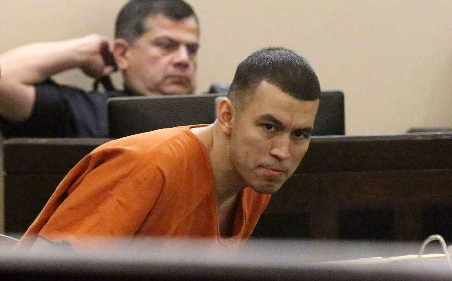 """Murder defendant Miguel Martinez sits in the 437th District Court Monday April 17, 2017. A judge has declared a mistrial in Martinez's case that had been compelling enough for District Attorney Nicholas """"Nico"""" LaHood to prosecute the case himself. Martinez has been accused of killing Laura Cater in 2015. Photo: John Davenport, STAFF / San Antonio Express-News / ©San Antonio Express-News/John Davenport"""