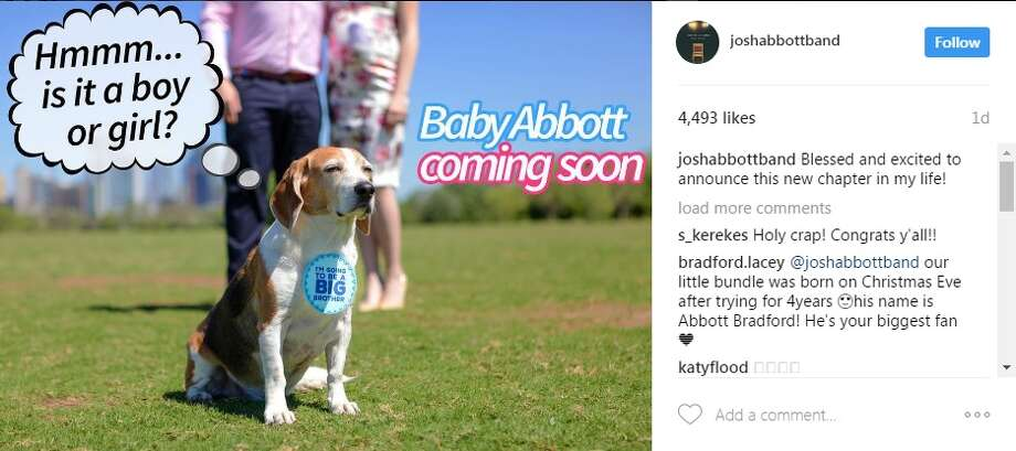 Country singer Josh Abbott revealed that he's going to be a father via Instagram after posting a photo about baby Abbott coming soon.