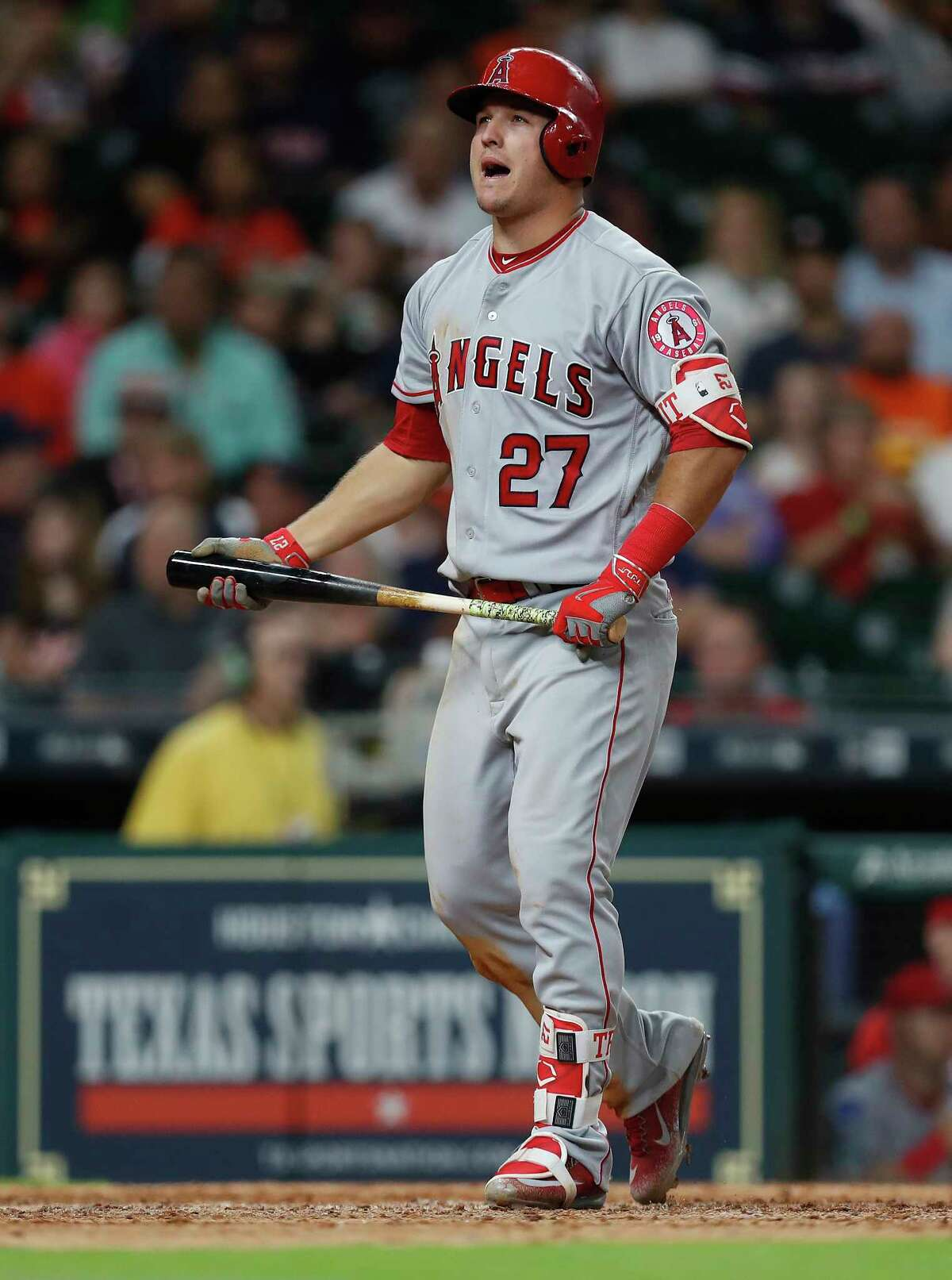 Los Angeles Angels Mike Trout (27) reacts after a called strike during the seventh inning of an MLB baseball game at Minute Maid Park, 2017, in Houston.