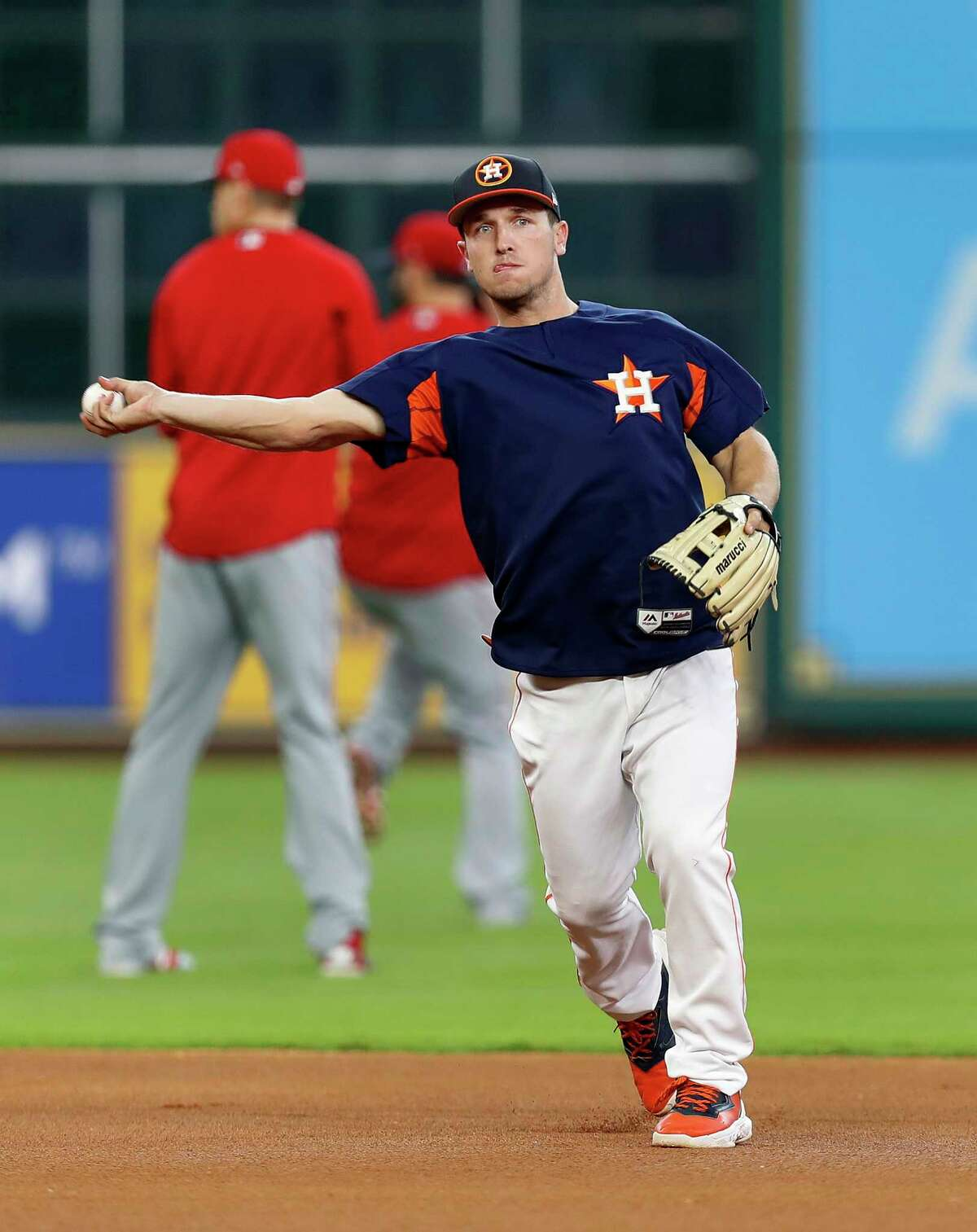 Houston Astros third baseman Alex Bregman runs drills during BP at short as Carlos Correa will be out of the lineup with a bruised hand, during tonight's MLB baseball game at Minute Maid Park, 2017, in Houston.