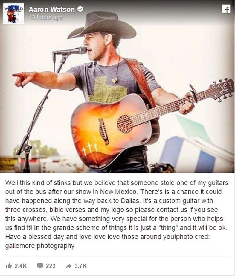 Country singer Aaron Watson is on the lookout for a custom guitar he believes was stolen out of his bus after a show in New Mexico.Image source: FacebookKeep clicking to see how to write the perfect country song.  Photo: Aaron Watson Via Facebook