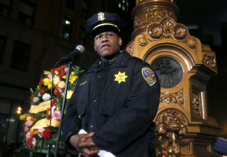 Police Chief William Scott attends his first 1906 earthquake commemoration ceremony at Lotta's Fountain on the 111th anniversary in San Francisco, Calif. on Tuesday, April 18, 2017. Photo: Paul Chinn, The Chronicle