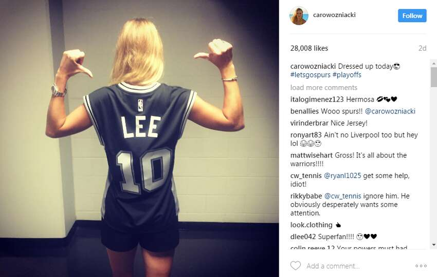 Tennis star Carol Wozniacki supported Lee as the Spurs tipped off their first round of Playoffs games against the Memphis Grizzlies on Saturday.