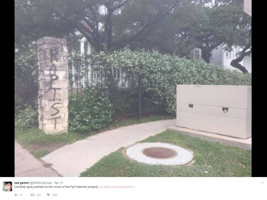 "Fraternities in the newsA frat house at the University of Texas has been vandalized with graffiti that said ""rapist"" and ""racist.""Click through to see fraternity scandals that garnered quite a few headlines.@WithALittleJazz"